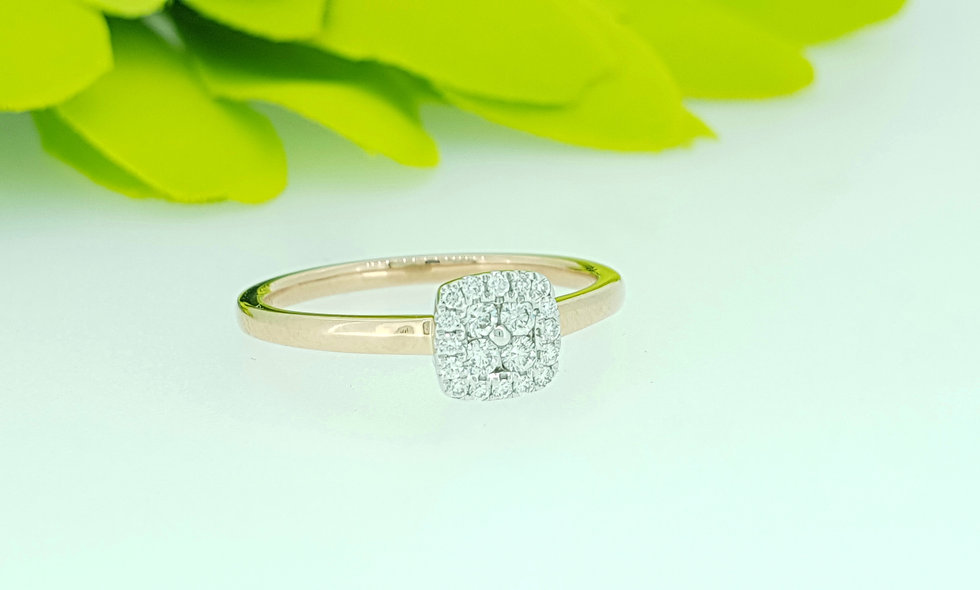 18ct Rose Gold and Diamond Cluster Ring