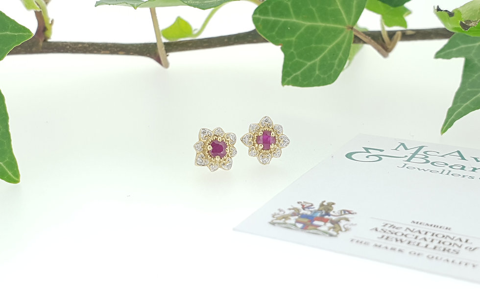 9ct Yellow Gold Floral Ruby Cluster Stud Earrings