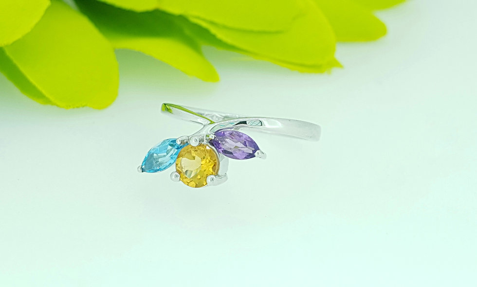 9ct White Gold Blue Topaz, Citrine and Amethyst Ring