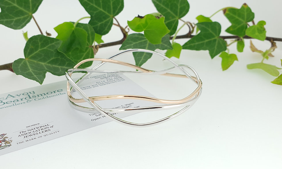Silver Wave Bangle with Red Gold Plating Accents