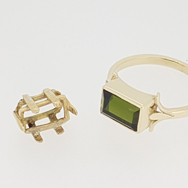 Green Tourmaline Ring Handmade Head
