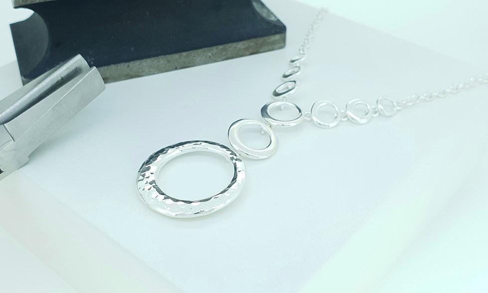 Silver Open Circles Drop Necklace