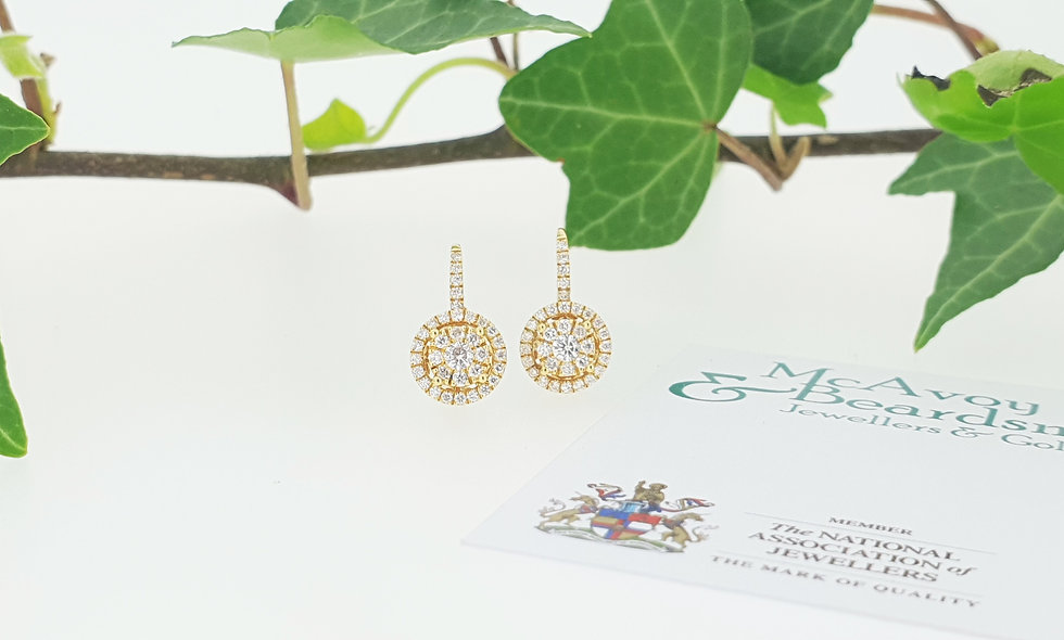 18ct Yellow Gold Diamond Cluster Drop Earrings