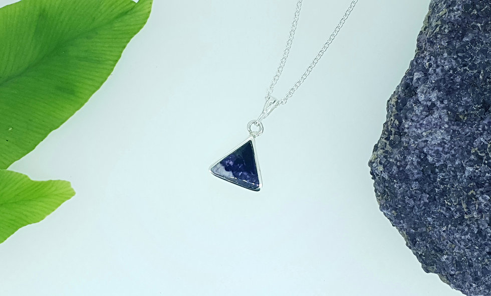 Silver and Blue John Triangle Pendant