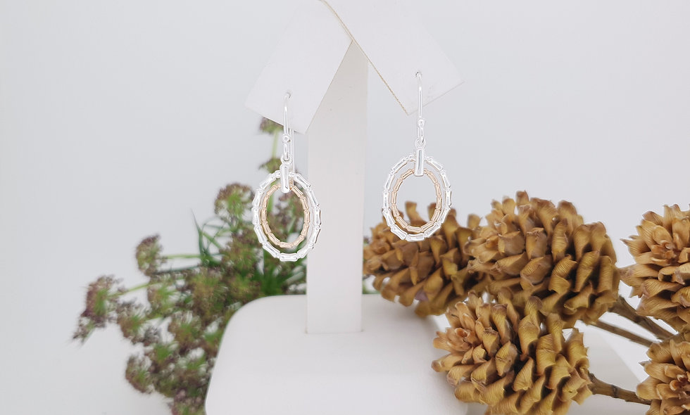Silver and Rose Gold Bamboo Earrings