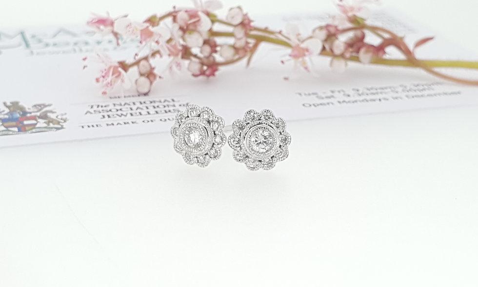 9ct White Gold Diamond Daisy Cluster Stud Earrings
