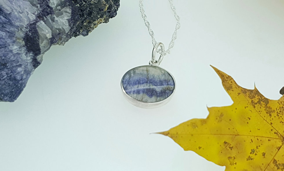 Silver and Blue John Round Pendant with St Christopher