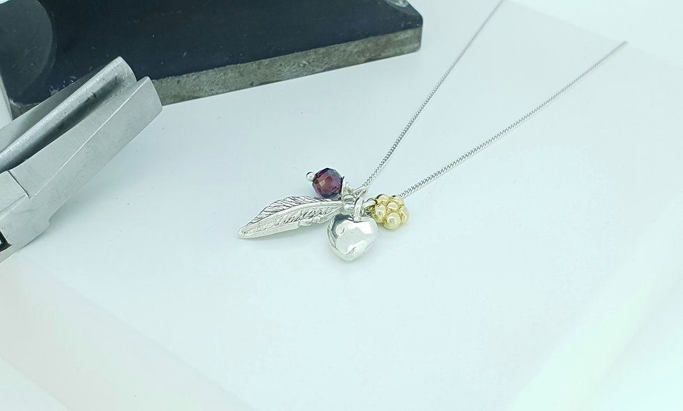 Silver, Gold Vermeil and Garnet Charm Necklace