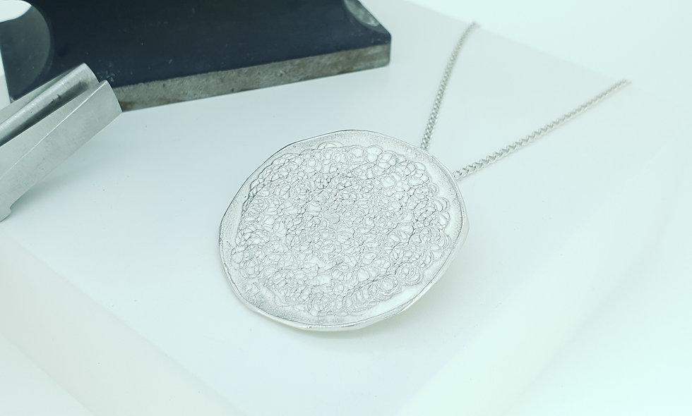 Silver Textured Circle Pendant