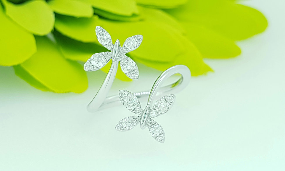 18ct White Gold and Diamond Butterfly Crossover Ring