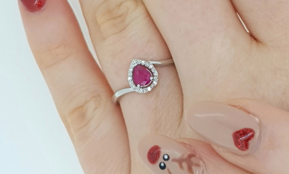 9ct White Gold Ruby and Diamond Twist Cluster