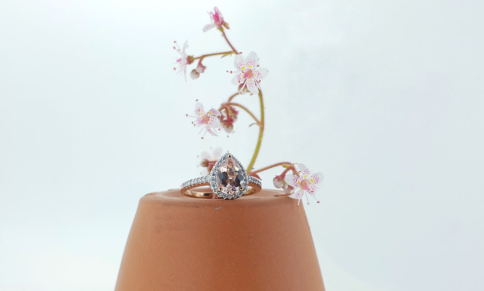9ct Red Gold Morganite Cluster Ring