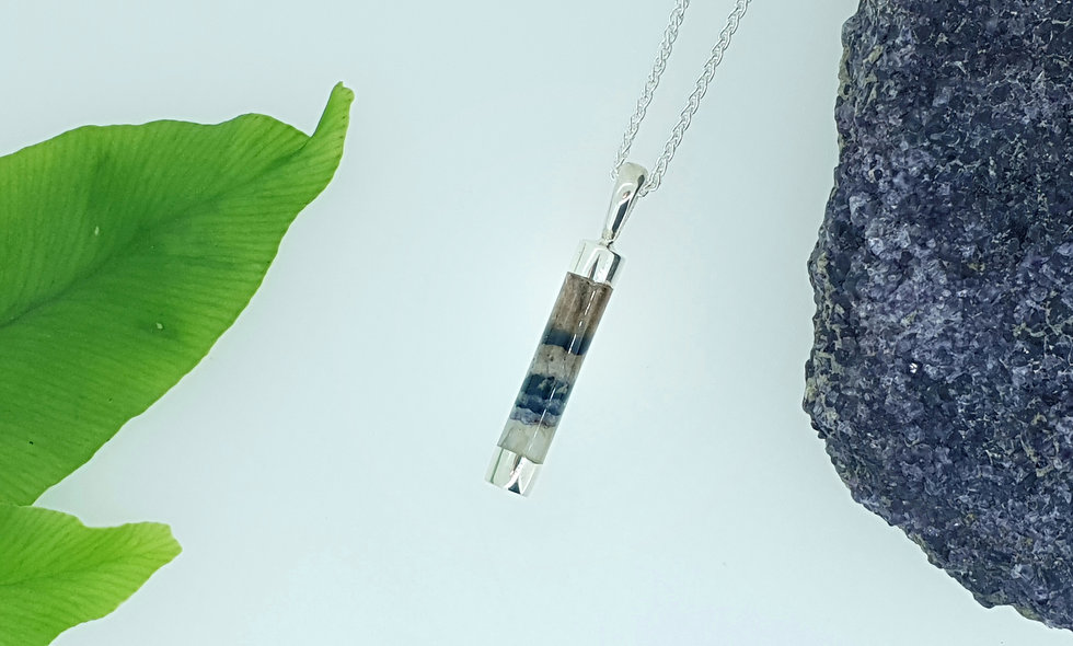 Silver and Blue John Cylinder Shaped Pendant