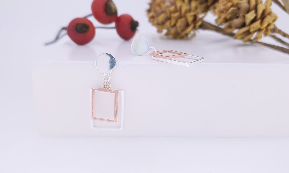 Silver and Rose Gold Drop Studs