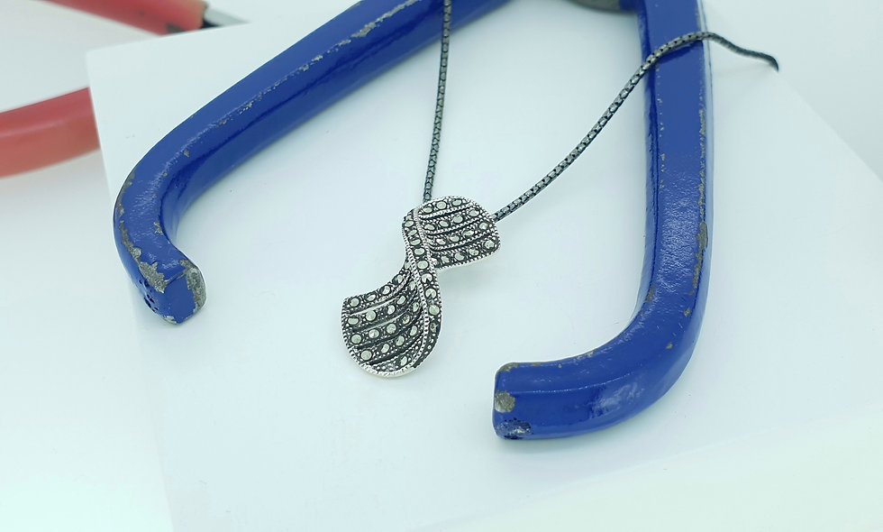 Silver and Marcasite Twist Pendant