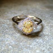 Yellow Diamond Half-Moon Cluster Ring
