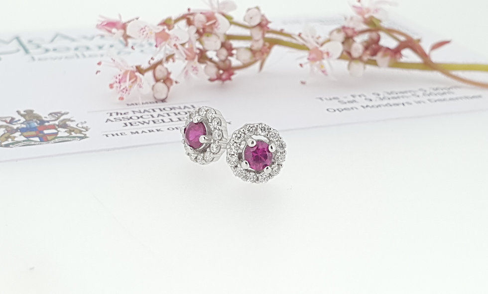 9ct White Gold Ruby Cluster Stud Earrings