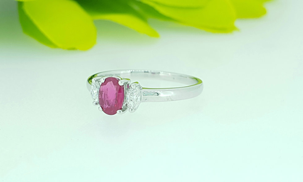 18ct White Gold Ruby and Diamond Ring