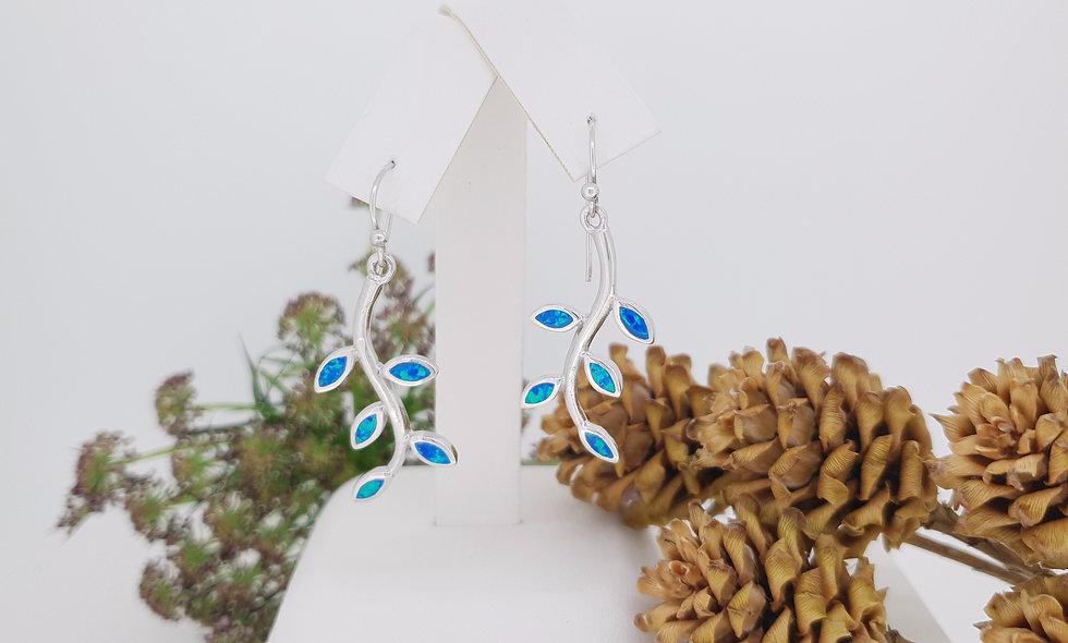 Silver Opalique Leaf Drop Earrings