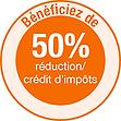 50% crédit d'impôts déduction fiscale
