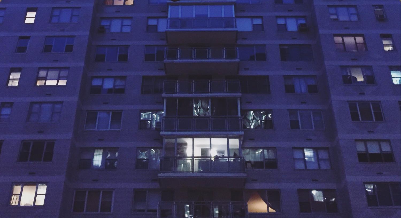Upper east side building in blue
