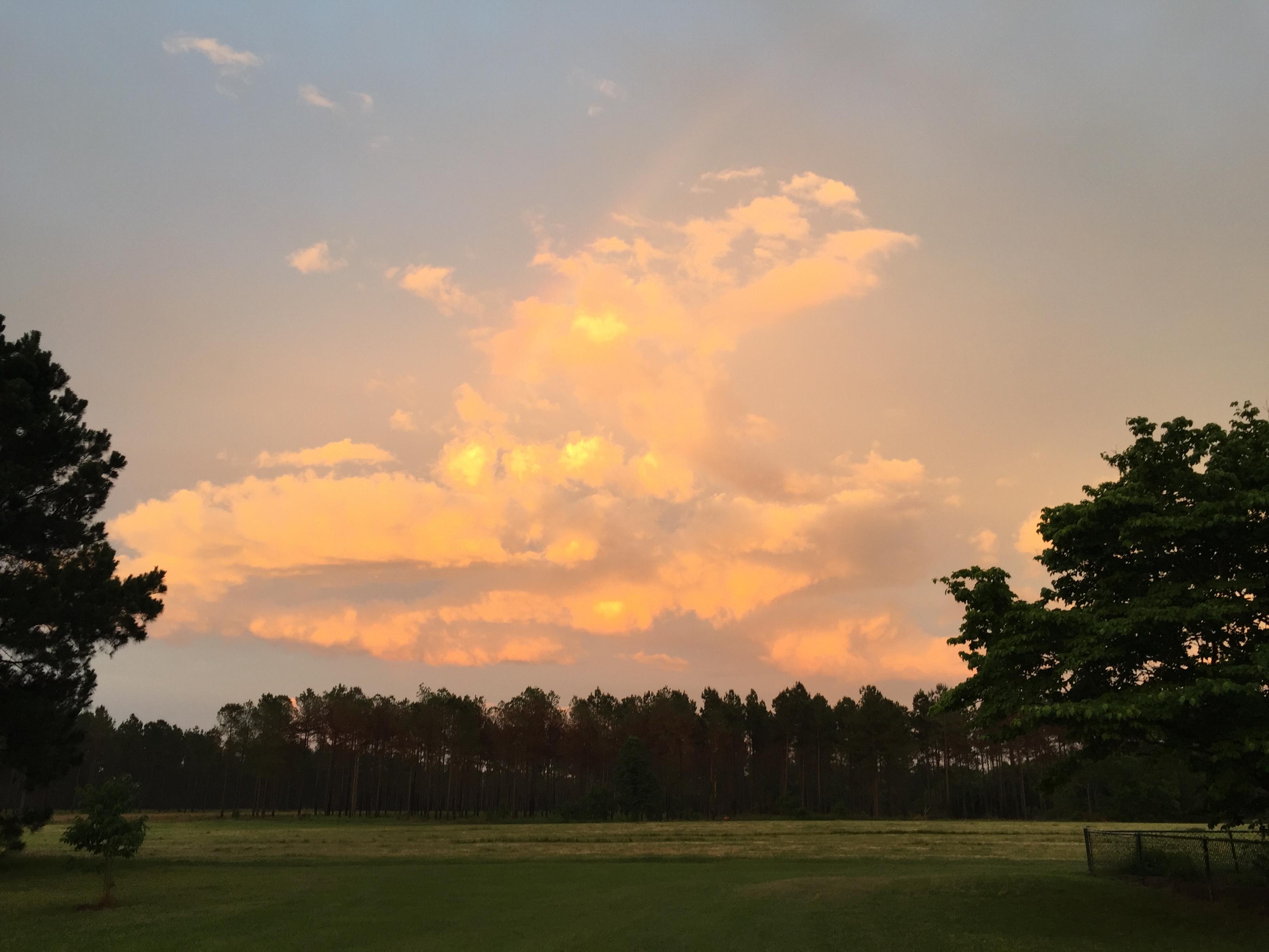 Sunset clouds over a field Georgia