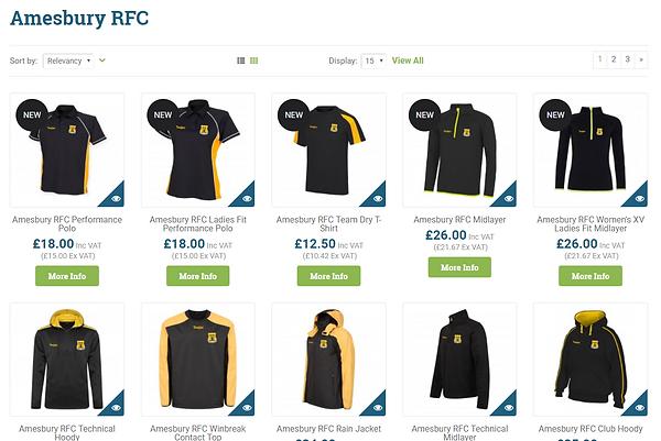 Amesbury Rugby Club Merchandising Shop