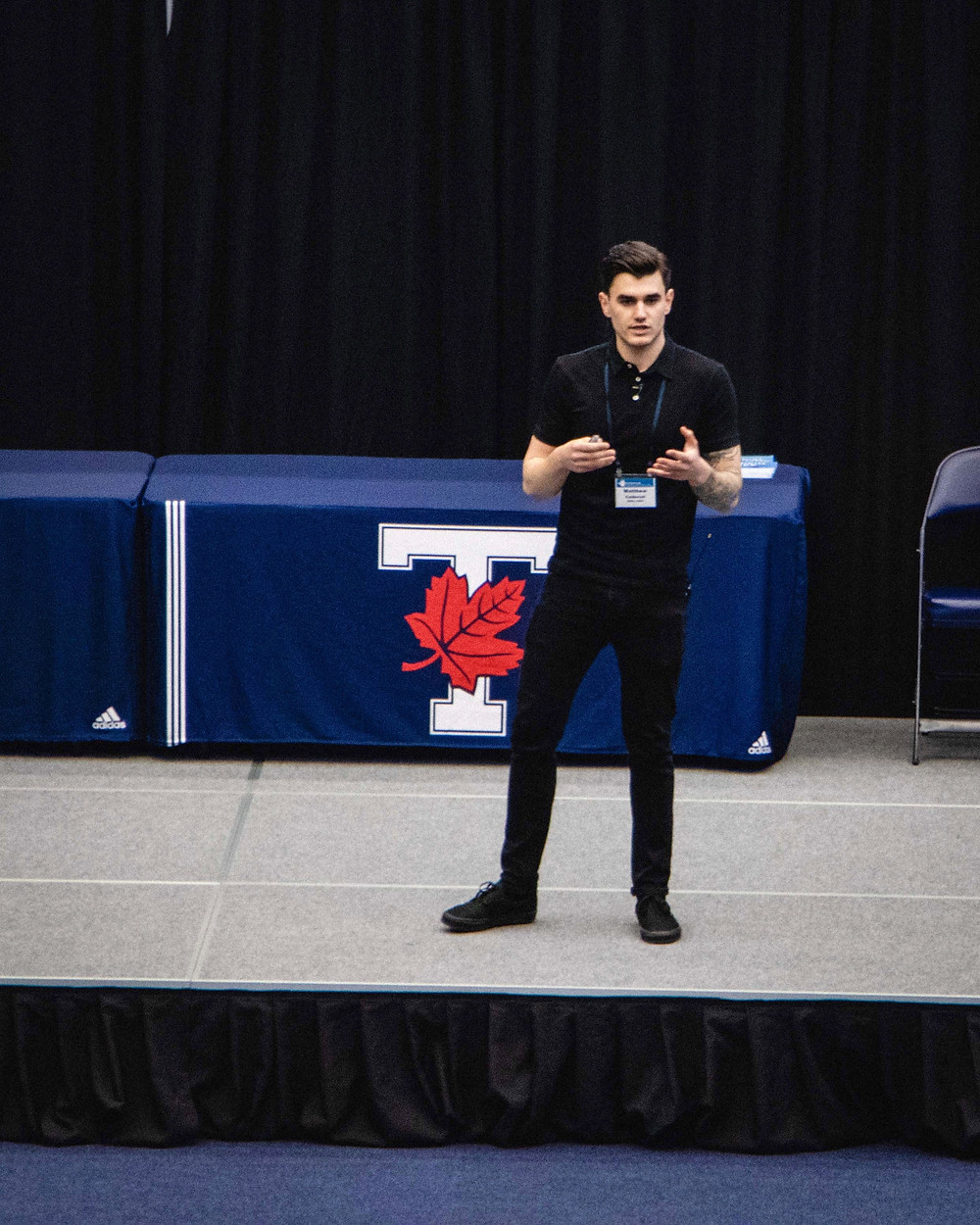 Matthew Caldaroni delivering a keynote speech at the National Strength and Conditioning Association's Toronto Conference on May 11, 2018.