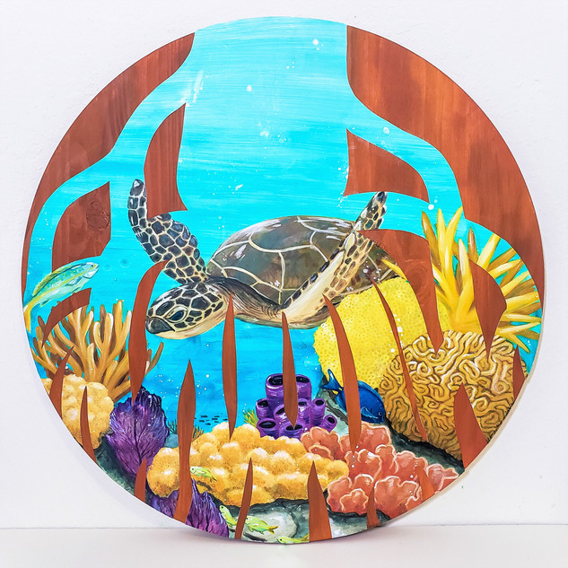 """Mangrove Roots 2"" 24"" Diameter Yupo and Acrylic on Wood Panel 2020  SOLD"