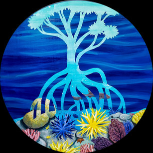 """""""Growth from Root to Reef""""  Mixed Media on Wood Panel, 2020 24"""" Diameter, 1"""" thick  $600"""