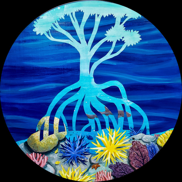 """Growth from Root to Reef""  Mixed Media on Wood Panel, 2020 24"" Diameter, 1"" thick  $600"