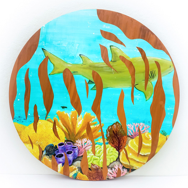 """""""Mangrove Roots 1"""" 24"""" Diameter Yupo and Acrylic on Wood Panel 2020  $300"""