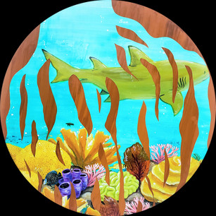 """""""Mangrove Roots 1"""" 24"""" Diameter Yupo and Acrylic on Wood Panel 2020  $600"""