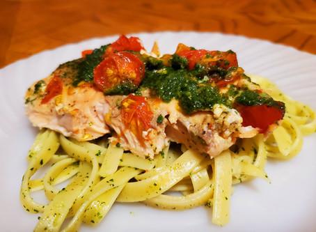 Salmon With Basil & Spinach Pesto