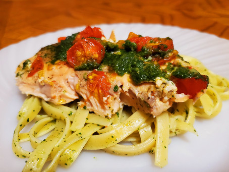 Salmon With Basil & Spinach Pesto