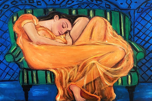 """""""Flaming June Green Couch"""""""