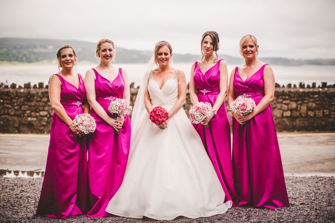 bride and briadmaid at Oxwich Bay Hotel South Wales