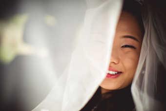 Photo of bride under veil