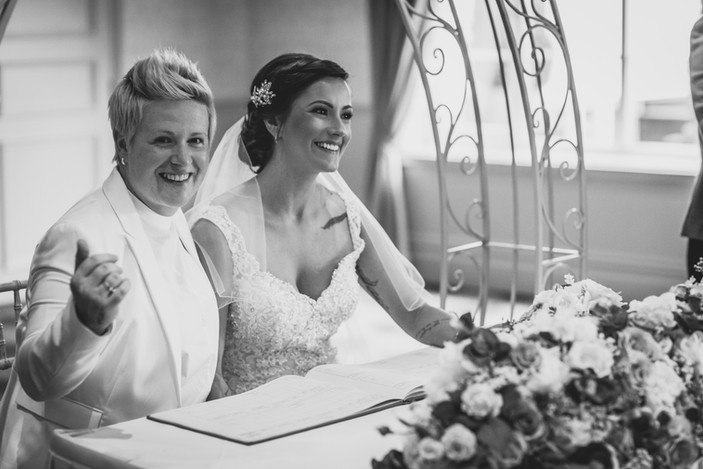 two brides at Coed Y Mwstwr