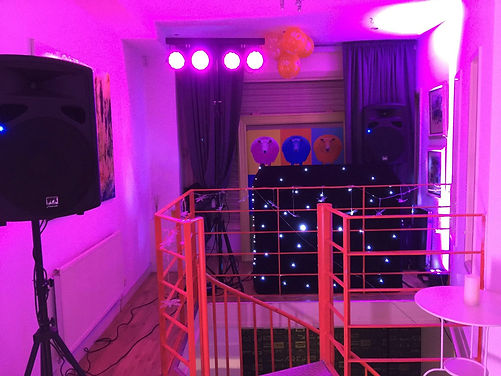 DJ gear set up behind stairs at 105 Bute Street