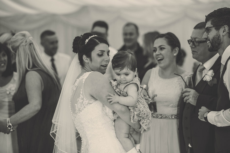 bride and baby at vale of glamorgan hotel wedding