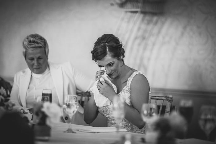 bride and bride at Coed Y Mwstwr wedding