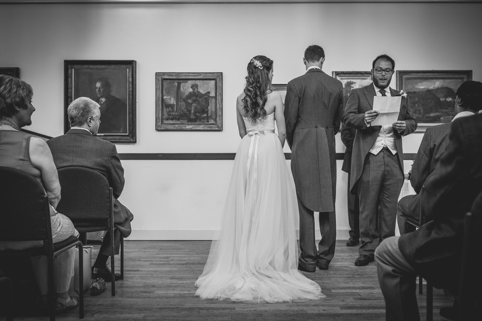 bride and groom at Royal Welsh College Music Drama