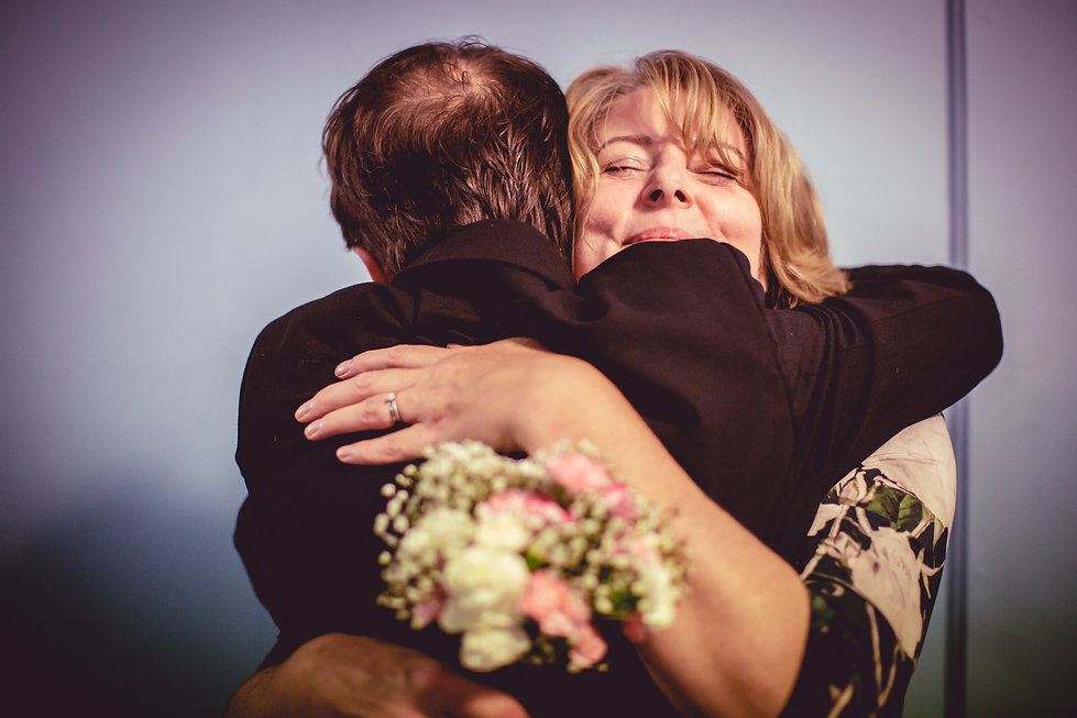 huging at Norwegian Church Wedding