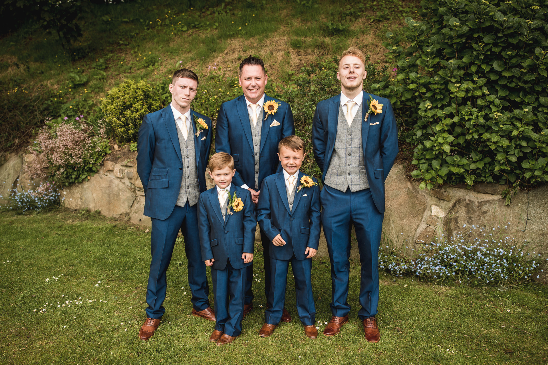 groom and ushers in Crug Glas South Wales