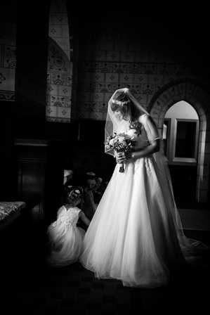 Bride and flowergirl in Cardiff
