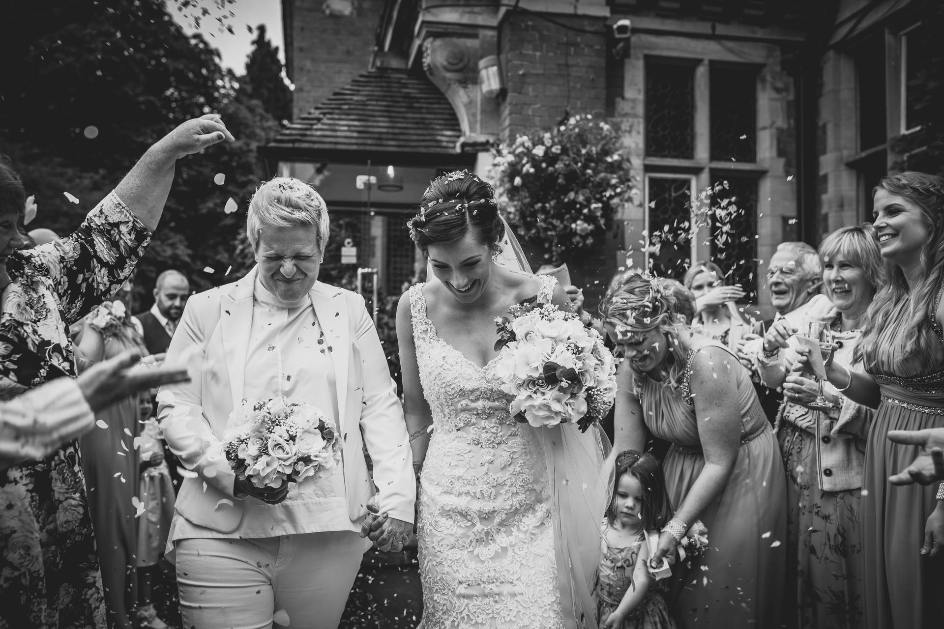 two bride at Coed Y Mwstwr wedding