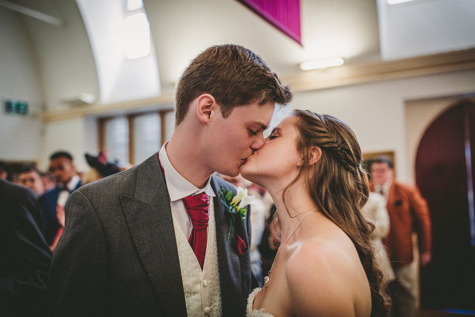 kissing at Royal Welsh College Music Drama