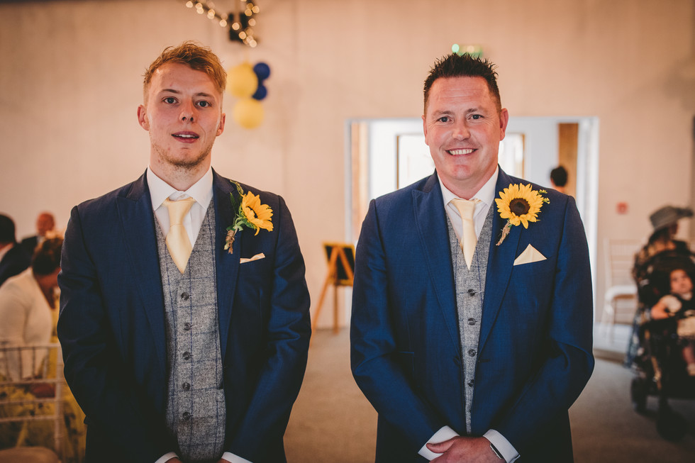 bride and ushers in Crug Glas South Wales