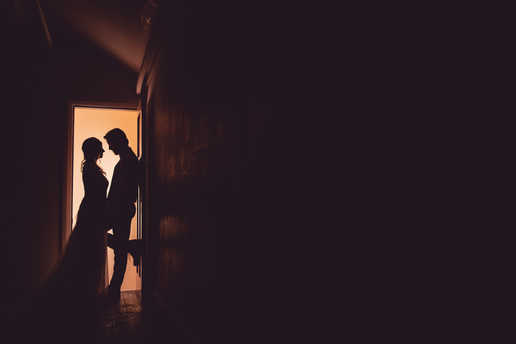 silhouette of bride and groom in cardiff
